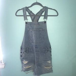 Abercrombie and Fitch light blue wash overalls